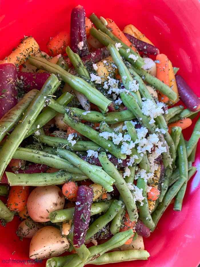 add ingredients to sheet pan veggies