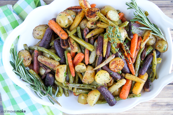roasted carrots, potatoes and green beans in bowl