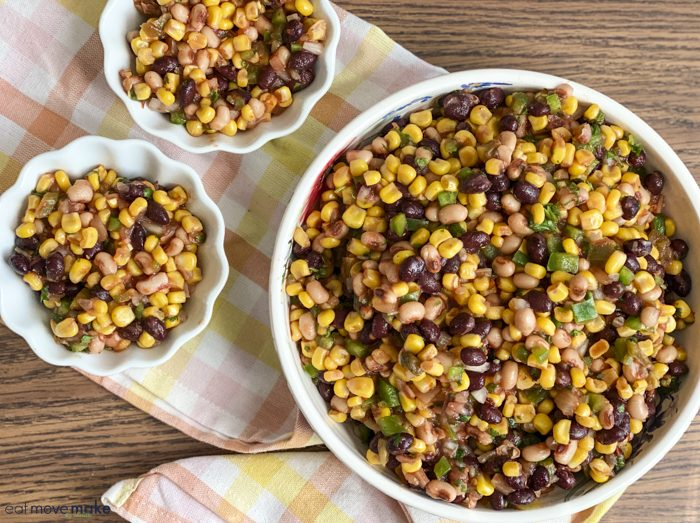 corn and black bean salad in serving bowl and small bowls