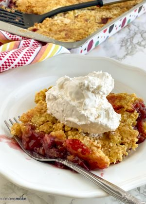 plate of black cherry rhubarb dump cake
